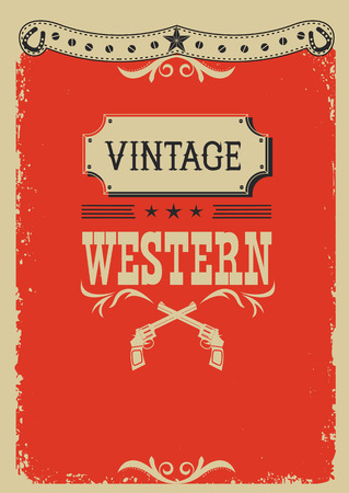 old poster: Cowboy red background with western decoration.Vector image for text or design