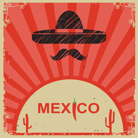 poncho: Mexican style poster with sombrero on old paper with text