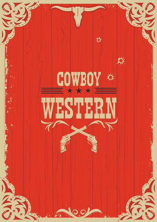 wood frame: Cowboy western red background with guns for design.Vector illustration on old paper