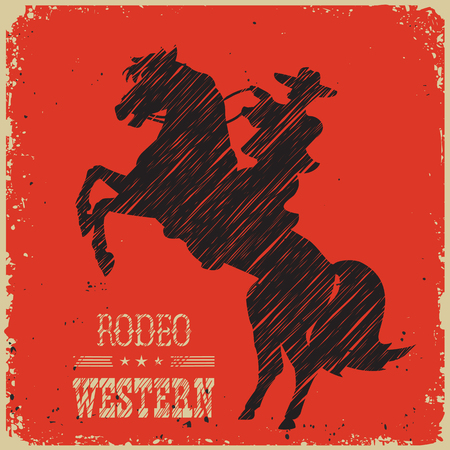 Cowboy riding wild horse.Western poster on red background for design