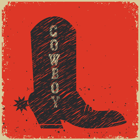 boots: Cowboy boot background.Vector red card for design Illustration