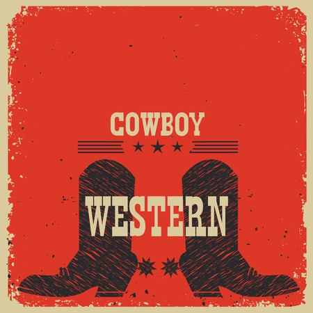 red boots: Cowboy boots background.Vector red poster with text Illustration