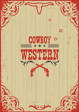 Cowboy sfondo del manifesto occidentale con illustrazione guns.Vector sulla vecchia carta Archivio Fotografico - 54711197