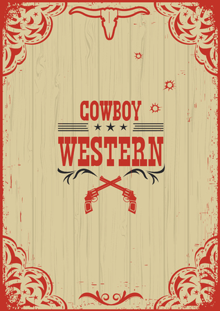 Cowboy western poster background with guns.Vector illustration on old paper