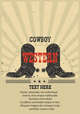 rodeo cowboy: Western poster Cowboy boots background.Vector vintage illustration Illustration