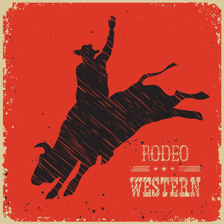 Cowboy riding wild large bull.Western poster on red background for design