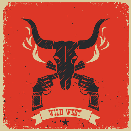 Western wild west poster background with skull and guns on red paper