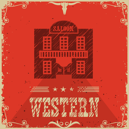 saloon: Western saloon red poster bacground.Vector illustration