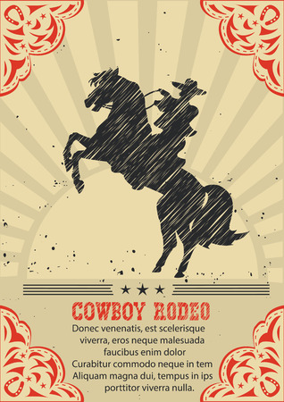 Cowboy riding wild horse .Vector western poster background for text