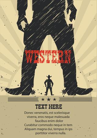 Occidentale cowboy duello gunfight.Vector manifesto americano per il testo Vettoriali
