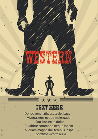cowboy man: Western cowboy duel gunfight.Vector american poster for text Illustration
