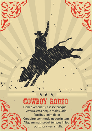 Cowboy riding wild bull.Vector western poster background for text