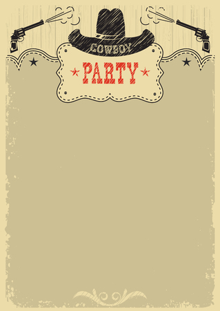 Cowboy party background with western decoration.Vector cowboy poster for text or design