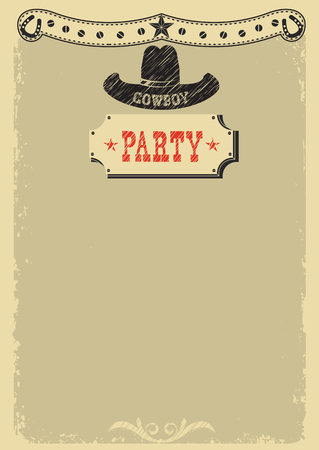 Cowboy party background with western decoration.Vector image for text or design
