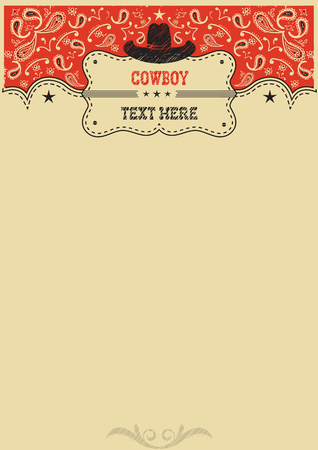 Cowboy background with cowboy hat and board for text.Vector cowboy poster for design Vettoriali