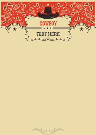 Sfondo Cowboy con il cappello da cowboy e pensione per text.Vector manifesto del cowboy per il design Archivio Fotografico - 56190265