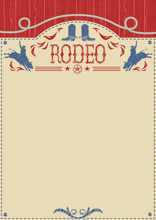 bucking bronco: American cowboy bull rodeo poster.Vector western paper background for text or design.Cowboy riding wild bull