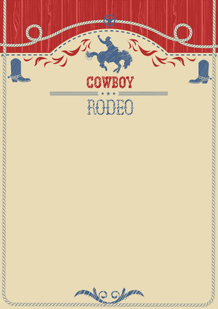 bucking bronco: American western cowboy rodeo background.Vector poster for text or design.Cowboy riding wild horse Illustration