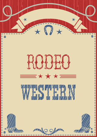 bucking bull: American cowboy rodeo poster.Vector western paper background for text or design