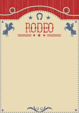 アメリカのカウボーイのロデオのポスター。テキストまたはデザインのベクトル西洋紙背景。カウボーイ乗馬野生馬 写真素材 - 56190891