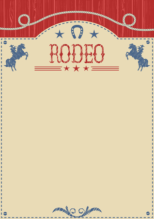 bucking bronco: American cowboy rodeo poster.Vector western paper background for text or design.Cowboy riding wild horse