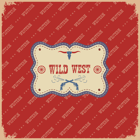 old cowboy: The wild west label cowboy background.Vector western cowboy american illustration