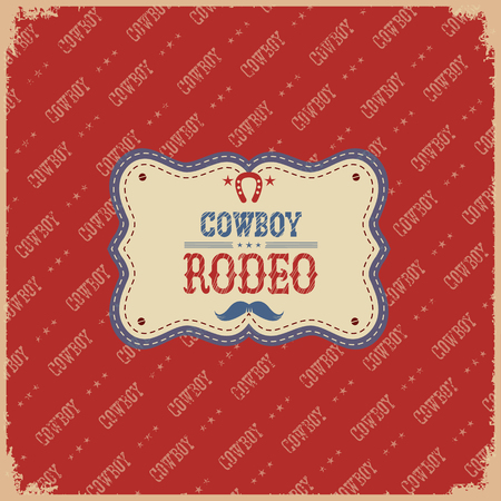 rodeo americano: Cowboy american rodeo card.Vector label on red background