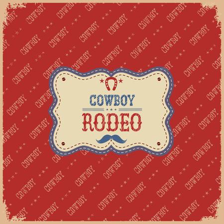 american rodeo: Vaquero del rodeo americano etiqueta card.Vector sobre fondo rojo