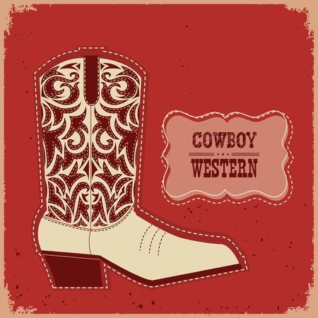 old cowboy: Cowboy american shoe.Vector western american boot card illustration Illustration
