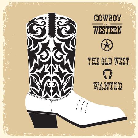 Cowboy Western American shoe.Vector amerikanische Boot-Illustration