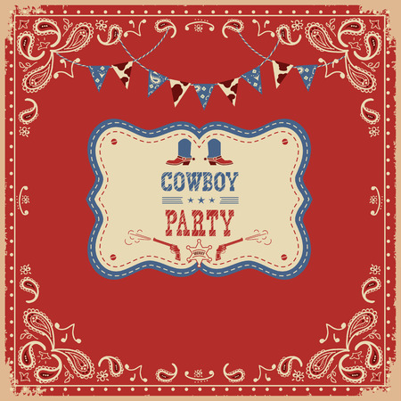 Cowboy party card with text and decorations.Vector western american illustration