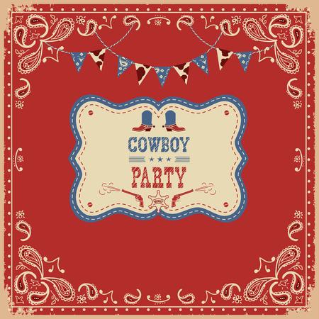 Tarjeta del partido del vaquero con el texto y la ilustración americana occidental decorations.Vector