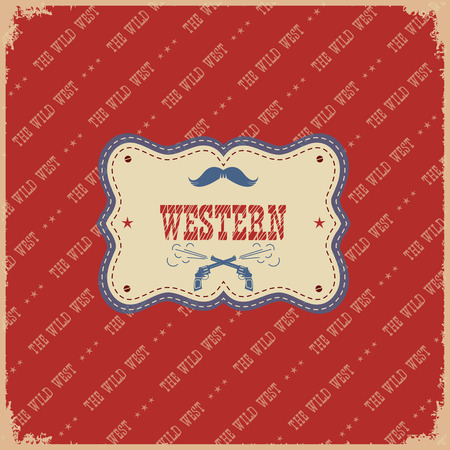 wil: Cowboy wil west label background.Vector western american illustration