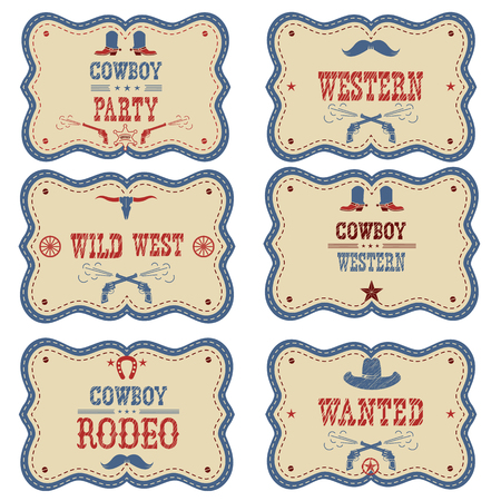 Cowboy labels isolated on white. Vector western cowboy symbols american illustration