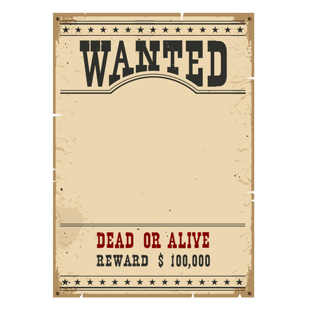 Wanted poster on wood wall texture for portrait.Western vintage paper