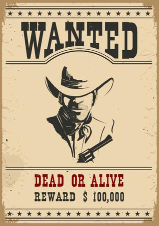 Wanted poster.Western vintage paper for design Illustration