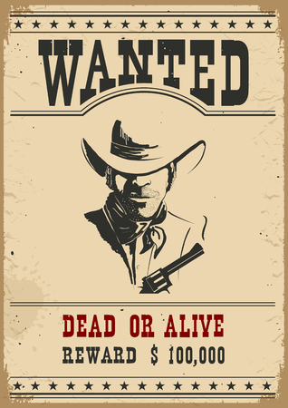 Wanted poster.Western vintage paper for design Çizim