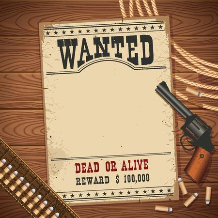 Busca cartel con el vaquero de la vendimia pictol oeste salvaje y vaquero lasso.Vector papel viejo para el diseño sobre la mesa de madera