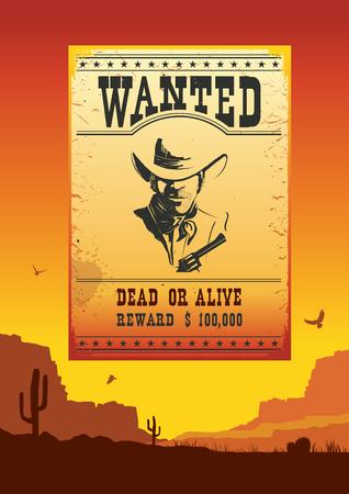 old man portrait: Wanted poster on Wild west american desert sunset landscape