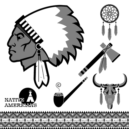 north american: North american indian man portrait and traditional objects isolated on white.vector black illustration Illustration