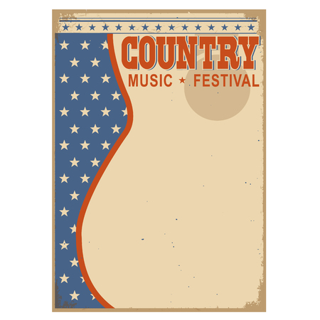 old barn: American Country music background for text. Illustration