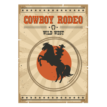 Cowboy riding wild horse .Western vintage rodeo poster with cowboy and text