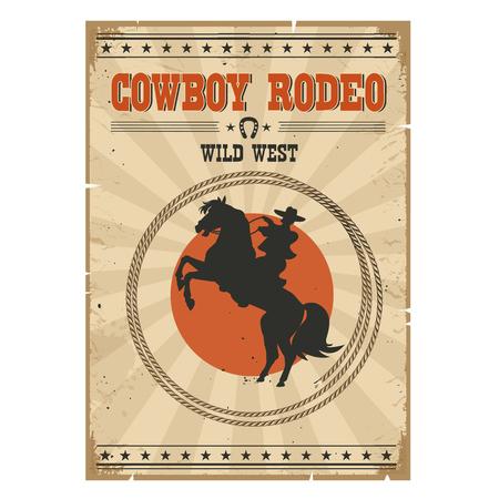 rodeo americano: Vaquero que monta caballo salvaje del cartel .Western rodeo de la vendimia con el vaquero y el texto