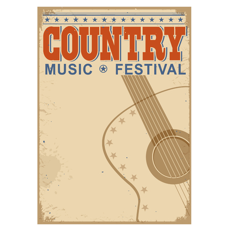 old barn: Country music festival background with symbol of guitar.Vector poster illustration