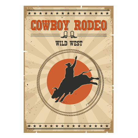bucking bull: Western rodeo vintage poster.Cowboy riding wild bull on old paper background