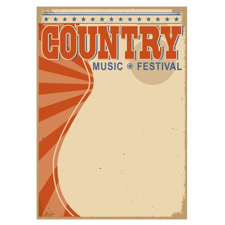 objects paper: Country music background for text.Vector poster illustration
