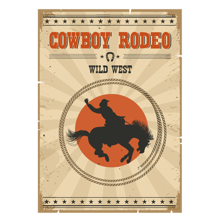 Western rodeo vintage poster.Cowboy riding wild horse on old paper Illustration
