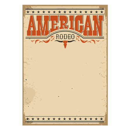 American cowboy rodeo poster for text on old paper texture for design