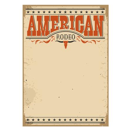 rodeo americano: cartel de vaquero de rodeo estadounidense para el texto textura de papel viejo para el dise�o