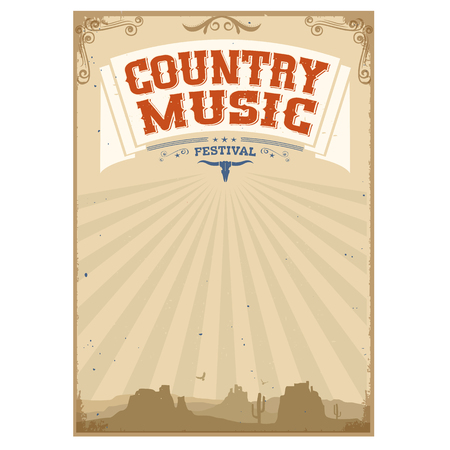 country music: Country music festival background with landscape.Poster isolated on white Illustration
